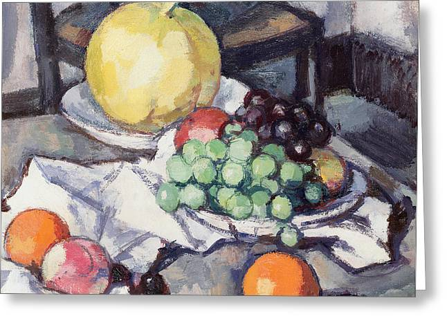 Melon Paintings Greeting Cards - Still Life with Melons and Grapes Greeting Card by Samuel John Peploe