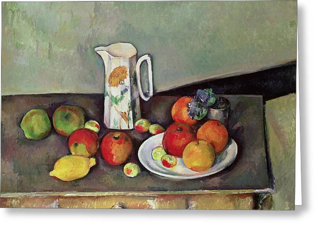 Desks Greeting Cards - Still life with milkjug and fruit Greeting Card by Paul Cezanne