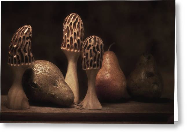 Hand Carved Greeting Cards - Still Life with Mushrooms and Pears II Greeting Card by Tom Mc Nemar