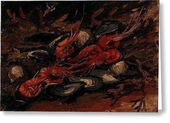 Van Gogh Influence Greeting Cards - Still Life with Mussels and Shrimps Greeting Card by Vincent Van Gogh