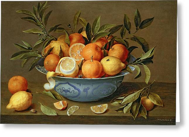Bowls Greeting Cards - Still Life with Oranges and Lemons in a Wan-Li Porcelain Dish  Greeting Card by Jacob van Hulsdonck