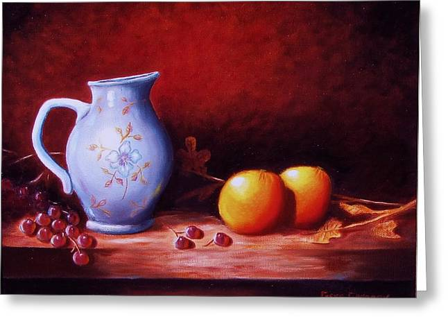 Still Life With Oranges  Greeting Card by Gene Gregory
