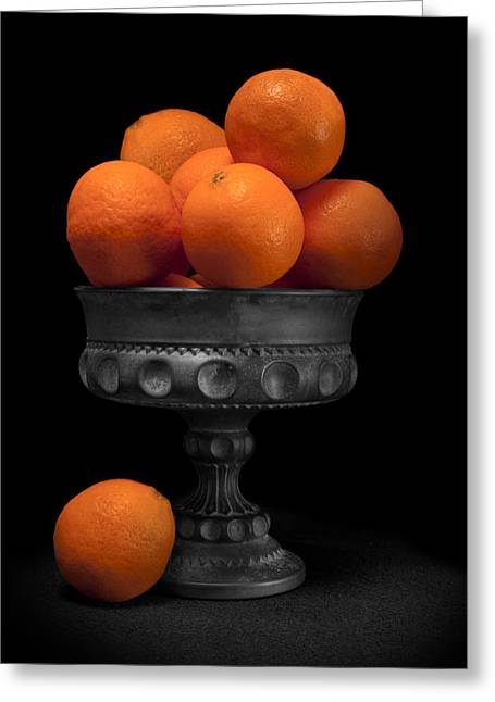 Fresh Picked Fruit Greeting Cards - Still Life with Oranges Greeting Card by Tom Mc Nemar