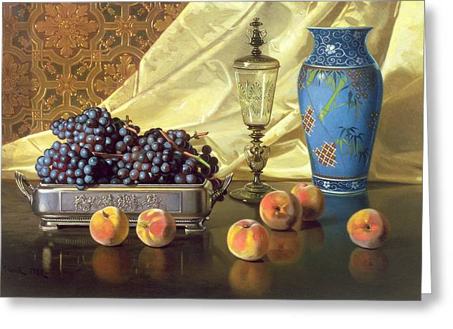 Draped Greeting Cards - Still Life with Peaches Greeting Card by Edward Chalmers Leavitt