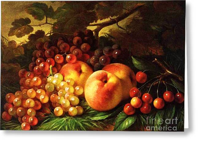 Still Life With Peaches Greeting Card by Pg Reproductions