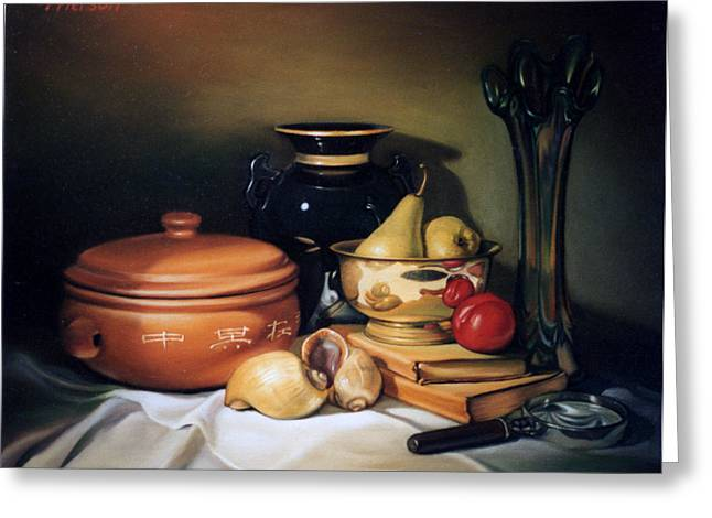 Still Life With Pears Greeting Card by Patrick Anthony Pierson