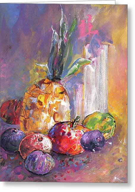 Still Life With Pineapple Greeting Card by Miki De Goodaboom
