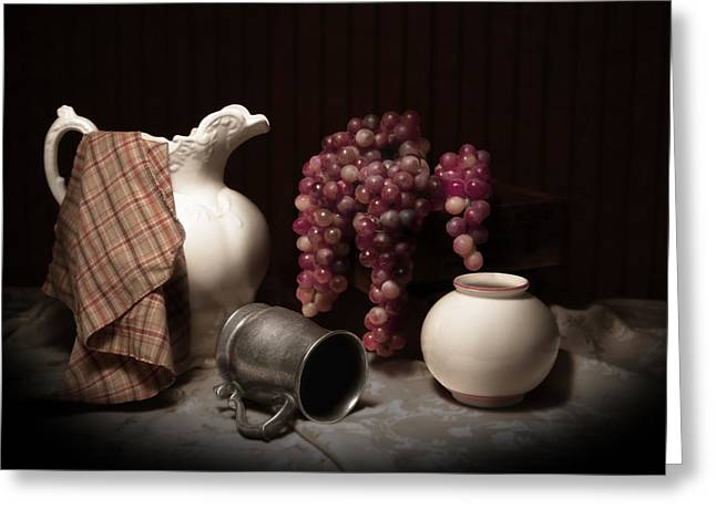 Pewter Mugs Greeting Cards - Still Life with Pitcher and Grapes Greeting Card by Tom Mc Nemar
