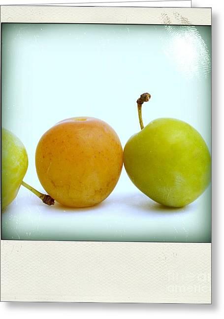 Plums Greeting Cards - Still life with plums. Greeting Card by Bernard Jaubert