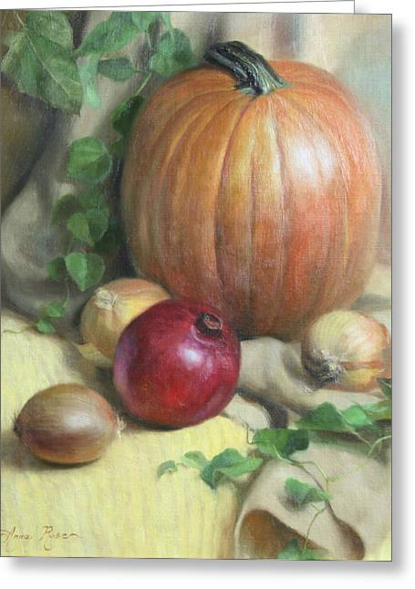 Orange Pumpkin Greeting Cards - Still Life with Pumpkin Greeting Card by Anna Bain