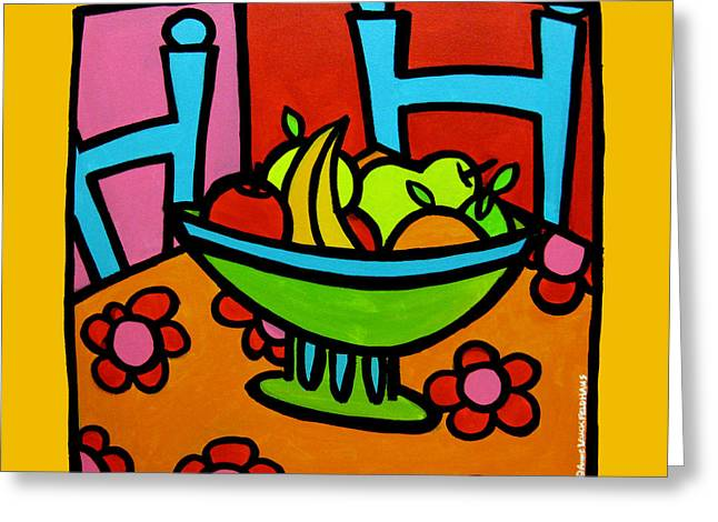 Still Life with Red and Pink Greeting Card by Anne Leuck Feldhaus