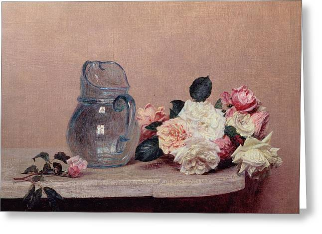 Best Sellers -  - Interior Still Life Greeting Cards - Still Life with Roses Greeting Card by Ignace Henri Jean Fantin-Latour