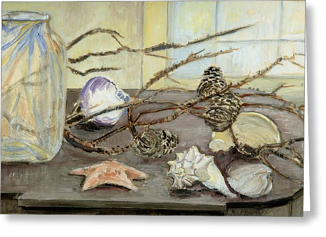 Pine Cones Paintings Greeting Cards - Still Life with Seashells and Pine Cones Greeting Card by Ethel Vrana