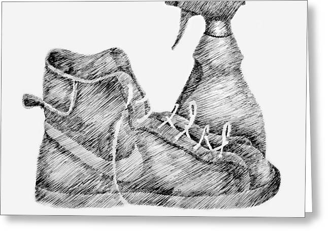 Tennis Drawings Greeting Cards - Still Life with Shoe and Spray Bottle Greeting Card by Michelle Calkins