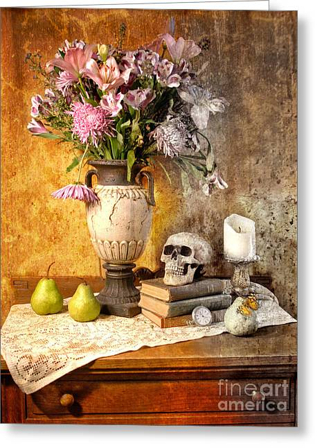 Still Life With Pears Greeting Cards - Still Life With Skull Greeting Card by Jill Battaglia
