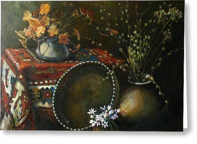 Still-life With Snow-drops Greeting Cards - Still-life with snowdrops Greeting Card by Tigran Ghulyan