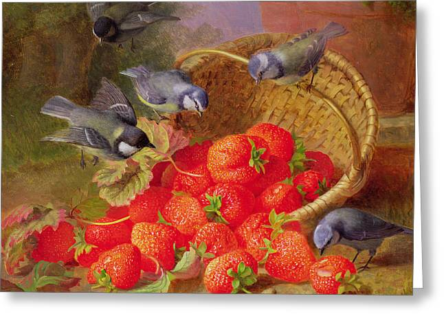 Topple Greeting Cards - Still Life with Strawberries and Bluetits Greeting Card by Eloise Harriet Stannard