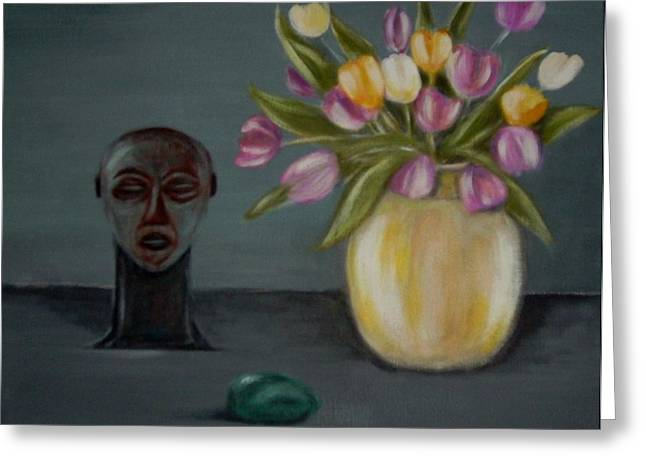 Print On Acrylic Greeting Cards - Still life with tulips Greeting Card by Joseph Ferguson