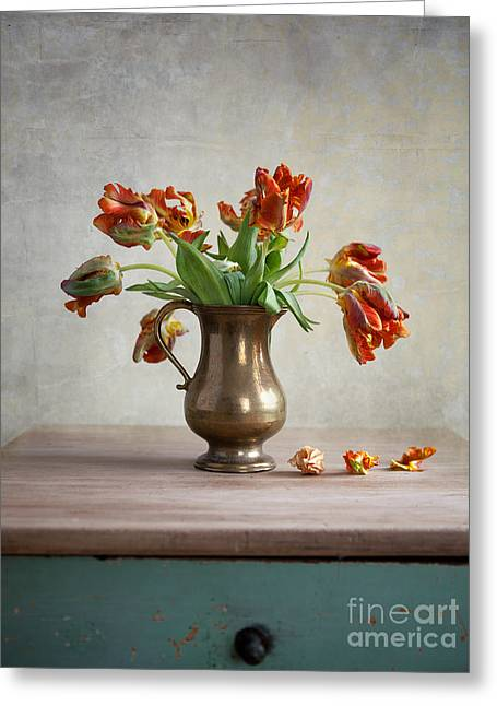 Indoors Greeting Cards - Still Life with Tulips Greeting Card by Nailia Schwarz