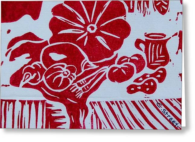 Recently Sold -  - Lino Reliefs Greeting Cards - Still Life with Veg and Utensils Greeting Card by Caroline Street