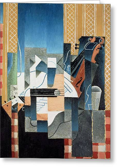 Juan Greeting Cards - Still Life with Violin and Guitar Greeting Card by Juan Gris