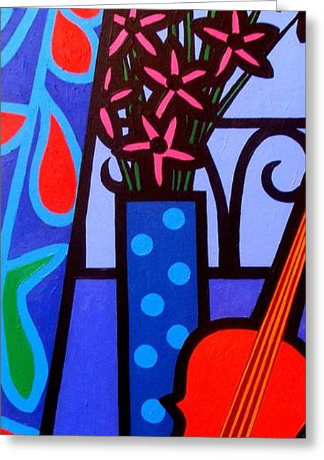 Wine Bottle Prints Greeting Cards - Still Life With Violin Greeting Card by John  Nolan