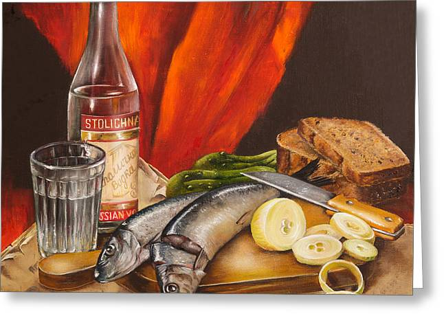 Food And Beverage Art Greeting Cards - Still Life with Vodka and Herring Greeting Card by Roxana Paul