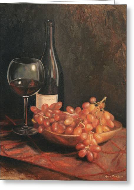 Wine Grapes Greeting Cards - Still Life with Wine and Grapes Greeting Card by Anna Bain