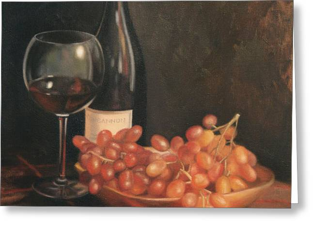 Still Life with Wine and Grapes Greeting Card by Anna Bain