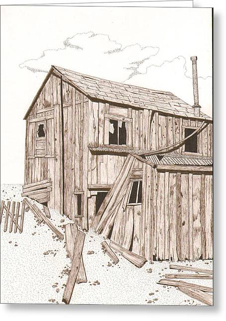 Dilapidated Drawings Greeting Cards - Still Standing Greeting Card by Pat Price