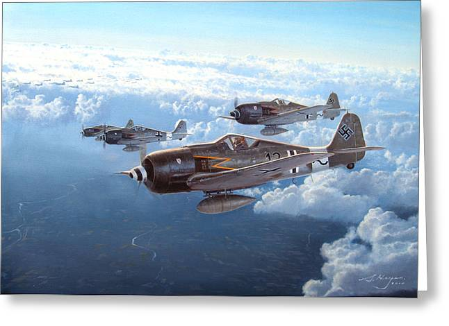 Airplane Paintings Greeting Cards - Still They Come Greeting Card by Steven Heyen