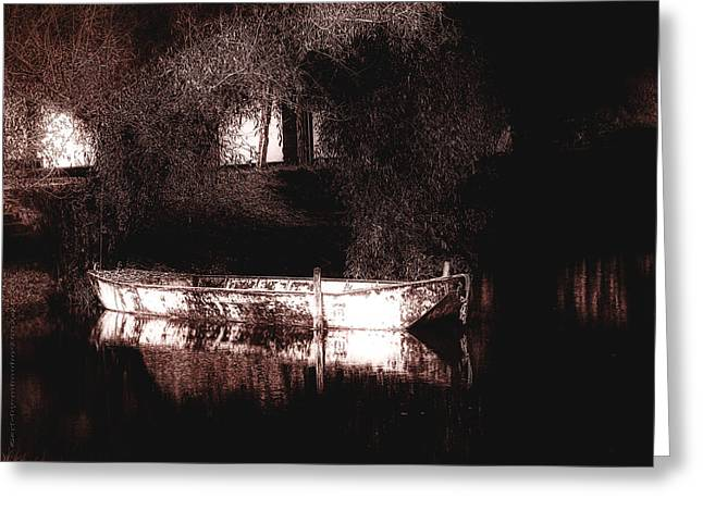 Ferryman Greeting Cards - Still Waters Greeting Card by Mimulux patricia no
