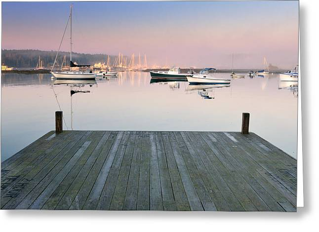 Docked Boats Greeting Cards - Still Waters - Southwest Harbor Maine Greeting Card by Thomas Schoeller