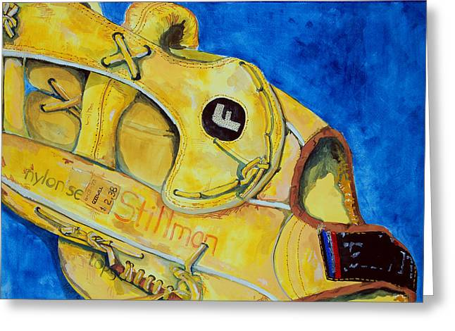 Baseball Glove Paintings Greeting Cards - Stillmans Nylon Glove Greeting Card by Jame Hayes