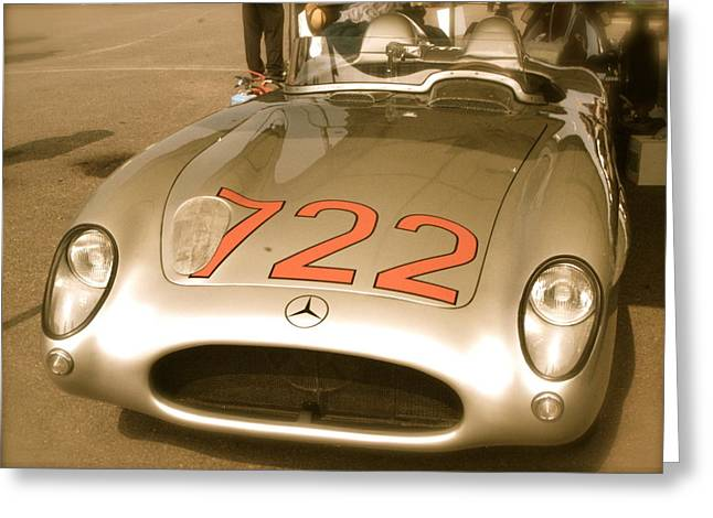 Stirling Moss Greeting Cards - Stirling Moss 1955 Mille Miglia 722 Mercedes Greeting Card by John Colley