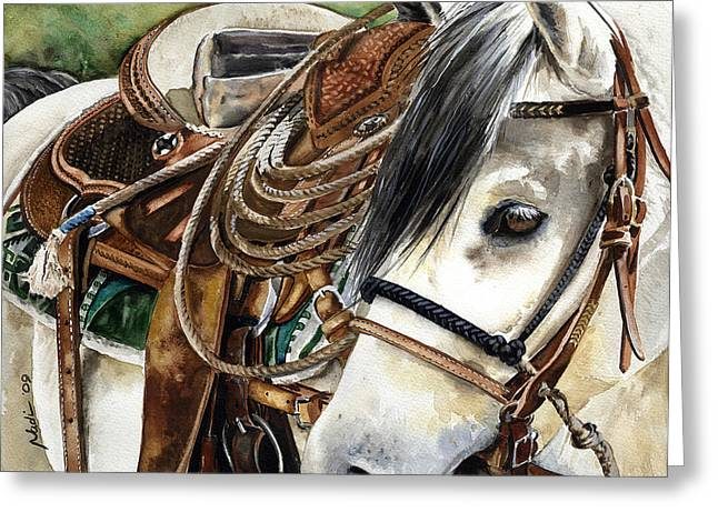 Nadi Spencer Paintings Greeting Cards - Stirrup Up Greeting Card by Nadi Spencer