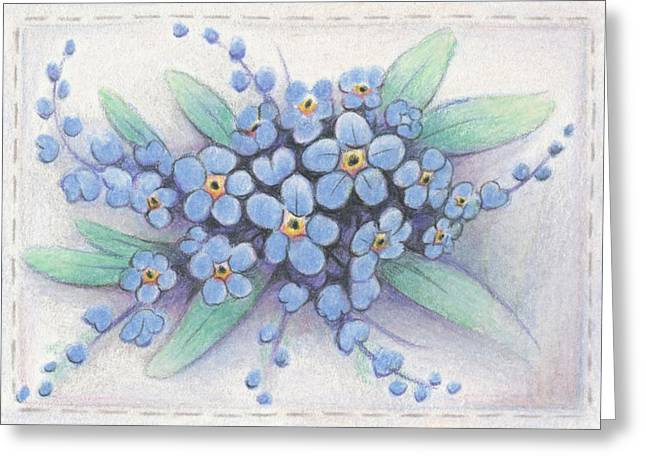 Amy S Turner Greeting Cards - Stitched Forget-Me-Nots Greeting Card by Amy S Turner