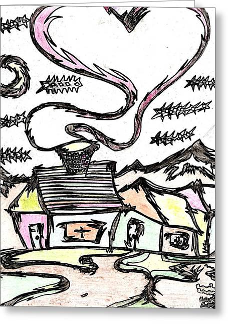 New To Vintage Drawings Greeting Cards - Stitchlips House Greeting Card by Levi Glassrock