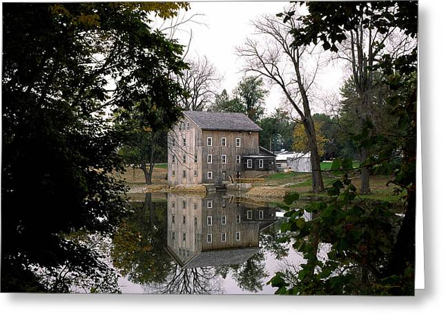Indiana Autumn Greeting Cards - Stockdale Mill Wabash County Indiana Greeting Card by Marsha Williamson Mohr