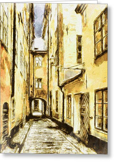 Urban Nature Study Greeting Cards - Stockholm Old City Greeting Card by Yury Malkov