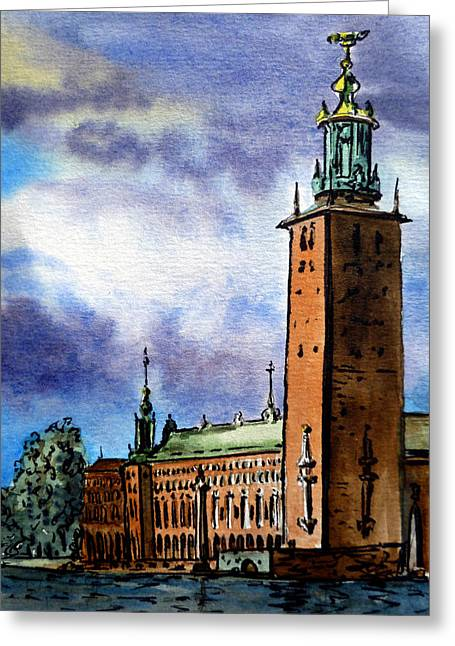 Sketch Greeting Cards - Stockholm Sweden Greeting Card by Irina Sztukowski