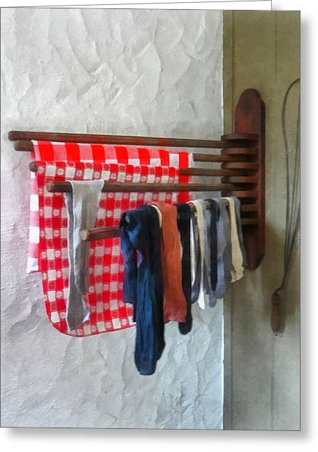 Laundry Greeting Cards - Stockings Hanging to Dry Greeting Card by Susan Savad
