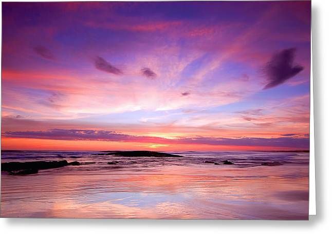 Stockton Greeting Cards - Stockton Beach Sunset Greeting Card by Paul Svensen