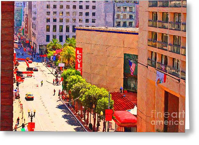 Hyatt Hotel Greeting Cards - Stockton Street San Francisco Towards Union Square Greeting Card by Wingsdomain Art and Photography