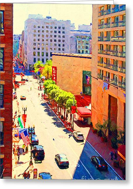 Levi Greeting Cards - Stockton Street San Francisco . View Towards Union Square Greeting Card by Wingsdomain Art and Photography