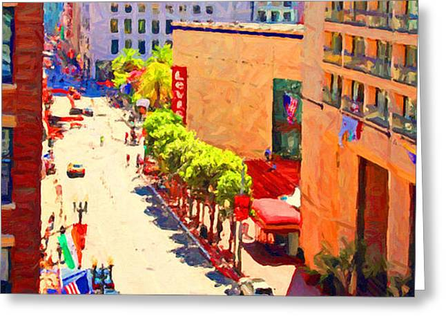 Stockton Street San Francisco . View Towards Union Square Greeting Card by Wingsdomain Art and Photography
