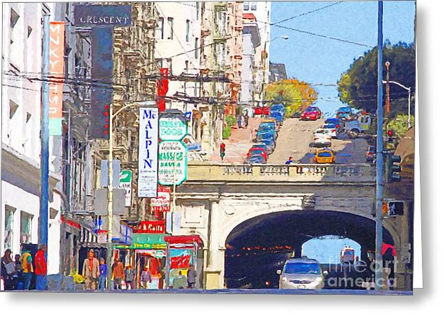 Stockton Street Greeting Cards - Stockton Street Tunnel in San Francisco . 7D7355 Greeting Card by Wingsdomain Art and Photography