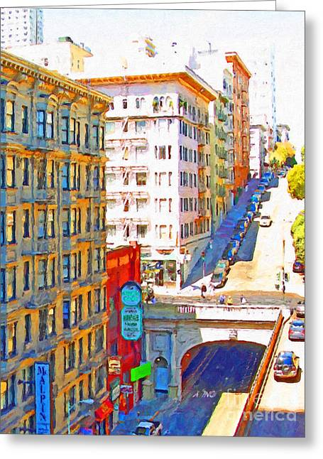 Stockton Street Greeting Cards - Stockton Street Tunnel in San Francisco . 7D7502 Greeting Card by Wingsdomain Art and Photography