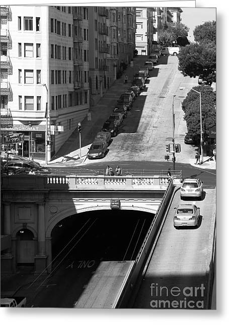 Sutter Street Greeting Cards - Stockton Street Tunnel Midday Late Summer in San Francisco . Black and White Photograph 7D7499 Greeting Card by Wingsdomain Art and Photography