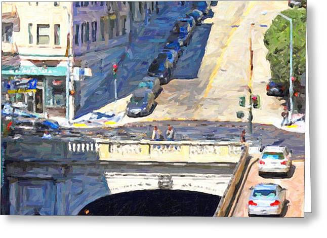 Stockton Street Tunnel Midday Late Summer in San Francisco Greeting Card by Wingsdomain Art and Photography